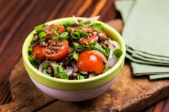 Indian lentil salad with veggies. Healthy food, vegetarian and v Royalty Free Stock Images