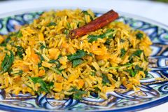 Traditional Indian dish called khichdi with cinnamon stick Royalty Free Stock Photo