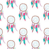 Traditional indian dreamcatcher seamless pattern. Tribal ojibwe magical totem for dream protection made of bird quills and feathers, web or net. Spiritual Stock Image
