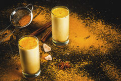 Traditional Indian drink turmeric milk Stock Photography