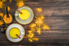 Traditional Indian drink turmeric milk royalty free stock photo