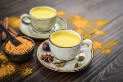 Traditional Indian drink turmeric milk stock image