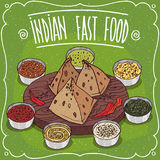 Traditional Indian fast food Samosa with sauces Stock Photography