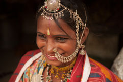 Traditional Indian female in sari smiling Stock Photo