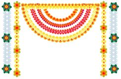 Traditional Indian flower garlands decoration for holiday Stock Photos