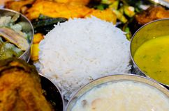 Traditional Indian food , Bengali food thali , rice , dal , fish, and vegetables. stock images