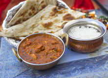Traditional indian food Butter Chicken Tawa chicken. Served with rice Stock Photography