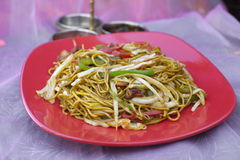 Traditional indian food Chicken Noodles on red plate Stock Image
