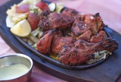 Traditional indian food  Chicken tandori on plate Royalty Free Stock Image
