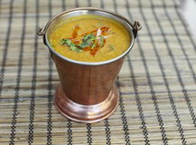 Traditional indian food - Dal Makhni soup. Served in bucket stock photo