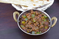 Traditional indian food Kadhai Chicken Tawa Mutton. Traditional indian food - Kadhai Chicken Tawa Mutton with naan bread Royalty Free Stock Photo