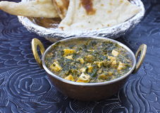 Traditional indian food Palak Paneer. Spinach and cheese Stock Photos