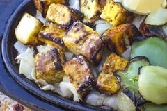 Traditional indian food paneer tikka. Grilled cheese Royalty Free Stock Images