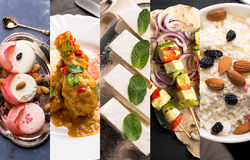 Traditional indian food. Photo collage with indian cuisine Royalty Free Stock Photo