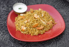 Traditional indian food Prawn Biryani with rice Royalty Free Stock Photos