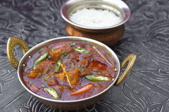 Traditional indian food tikka Mutton Vindaloo. With rice Royalty Free Stock Photo