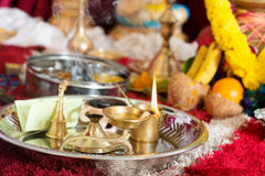 Traditional Indian Hindu praying ceremony Stock Image