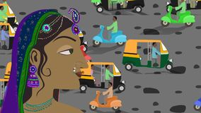 Traditional Indian Hindu Woman in a Busy Indian Street stock video footage