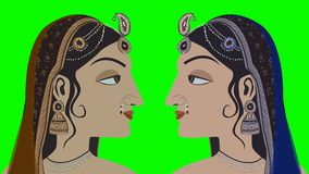 2 Traditional Indian Hindu Women on a Green Screen stock footage