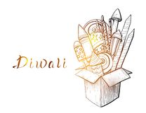 Traditional Indian holiday of Diwali. Box with fireworks. Vector illustration vector illustration