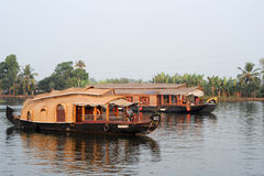 Traditional Indian houseboat cruising near Alleppey on Kerala ba Royalty Free Stock Photo