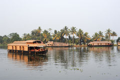 Traditional Indian houseboat cruising near Alleppey on Kerala ba Royalty Free Stock Images