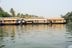 Traditional Indian houseboat cruising near Alleppey Stock Photo