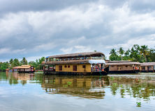 Traditional Indian houseboat in Kerala, India Royalty Free Stock Images