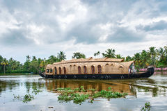 Traditional Indian houseboat in Kerala, India Royalty Free Stock Image