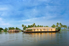Traditional Indian houseboat in Kerala, India Stock Photos