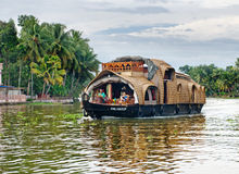 Traditional Indian houseboat in Kerala, India Royalty Free Stock Photo