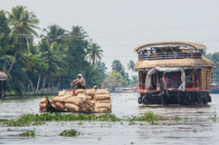Traditional Indian houseboat in Kerala, India Stock Image