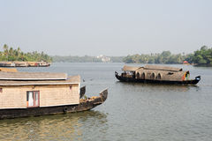 Traditional Indian houseboat at Kollam Stock Photo
