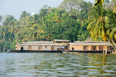 Traditional Indian houseboat near Kollam Stock Photography