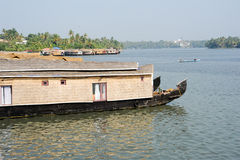 Traditional Indian houseboat near Kollam Royalty Free Stock Photography