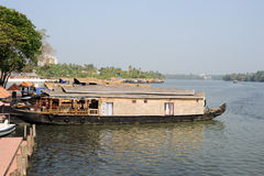 Traditional Indian houseboat near Kollam Royalty Free Stock Photo