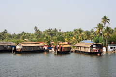 Traditional Indian houseboat near Kollam Royalty Free Stock Images