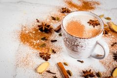 Traditional indian masala chai tea stock images