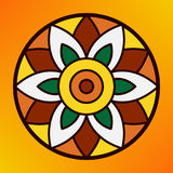 Traditional indian ornament rangoli for Onam or Diwali festival greeting card Stock Image