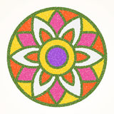 Traditional indian ornament rangoli for Onam or Diwali festival greeting card.  stock illustration