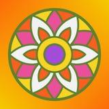 Traditional indian ornament rangoli for Onam or Diwali festival greeting card. Orange background Stock Images