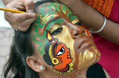 Traditional Indian painting designs on Face Stock Photography