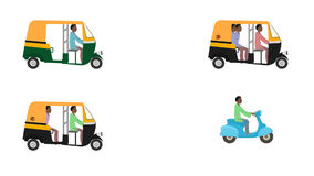 Traditional Indian Rickshaws and Scooter in Loop in Alpha Channel stock footage