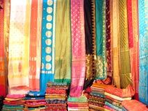Traditional Indian Sarees. Stock of traditional colorful silk sarees at a exihibiton Stock Photos