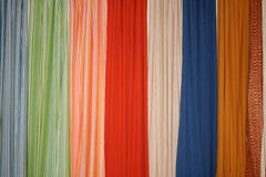 Traditional Indian Sarees. Display of traditional colorful silk sarees at an exhibition Royalty Free Stock Image