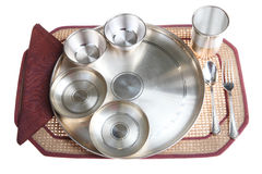 Traditional Indian Silver Dinner Plate Setting Stock Image