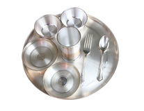 Traditional Indian Silver Dinner Plate Setting Royalty Free Stock Photography