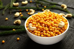 Traditional Indian snack Boondi,. Traditional Indian spicy snack boodi,bhoondi,bundi served in bowl royalty free stock image