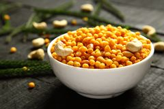 Homemade spicy Indian snack Boondi,. Traditional Indian spicy snack boodi,bhoondi,bundi served in bowl stock images
