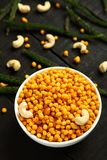 Homemade spicy Indian snack Boondi,overhead view. Traditional Indian spicy snack boodi,bhoondi,bundi served in bowl stock photography
